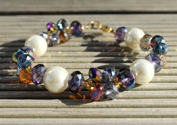 handmade bracelets with glass beads and white pearl