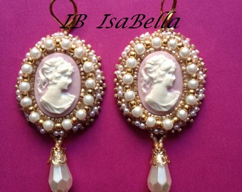 Embroidery cameo earrings