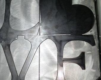 Metal LOVE wall art