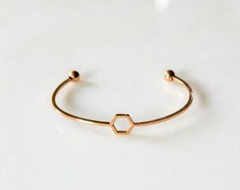 Gold Hexagon Bracelet, Hexagon Bracelet, Honeycomb gold bracelet, Bridesmaids gifts, Layering Bracelet