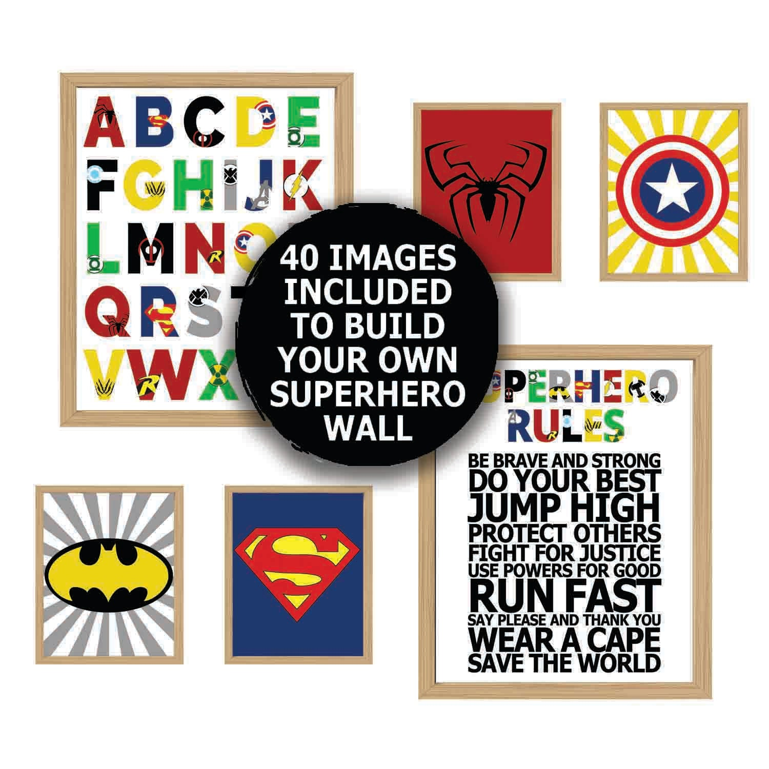 superhero wall art superhero alphabet boys room decor. Black Bedroom Furniture Sets. Home Design Ideas