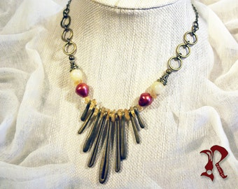 Necklace with Deep Red Fresh Water Pearls and Citrine
