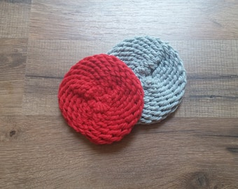 Dish Scrubbers - Dish Scrubbies - Pot Scrubbers - Kitchen Scrubber - Knit Pot Scrubber (Set of 2 Red and Grey)