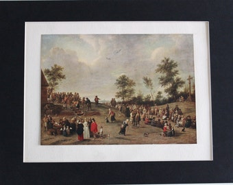 VILLAGE FETE Genuine Original Antique Fine Art Print by David Teniers c.1900 - Vintage Plate Mounted Print Flemish Painter Artist Painting