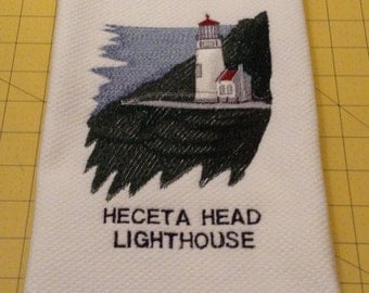 Heceta Head Lighthouse Embroidered Kitchen Hand Towel, Williams Sonoma All Purpose Kitchen Towel, Made in Turkey, X Large, 100% Cotton