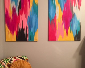 Set of 2 original multicolored Abstract Ikat Paintings