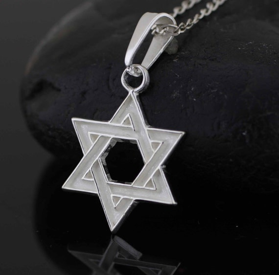 Star of david silver necklace sterling silver star of david for Star hallmark on jewelry