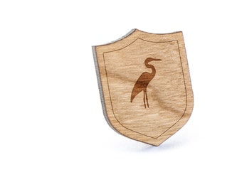 Heron Lapel Pin, Wooden Pin, Wooden Lapel, Gift For Him or Her, Wedding Gifts, Groomsman Gifts, and Personalized
