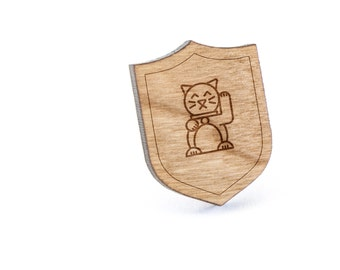 Chinese Cat Lapel Pin, Wooden Pin, Wooden Lapel, Gift For Him or Her, Wedding Gifts, Groomsman Gifts, and Personalized