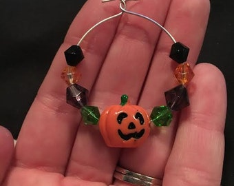 Halloween Pumpkin Wine Glass Charm