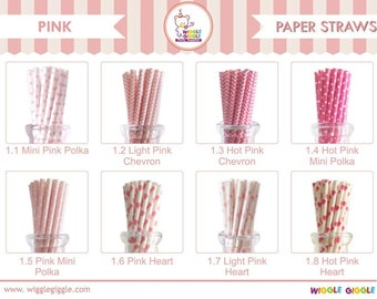 Pink Paper Straw