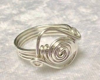 Ring/Boho/Hippy/Silver Wire Wrapped/Celtic Spirals