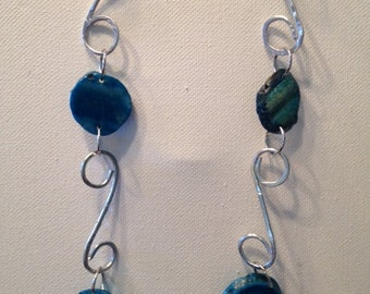Silver/blue glass Necklace