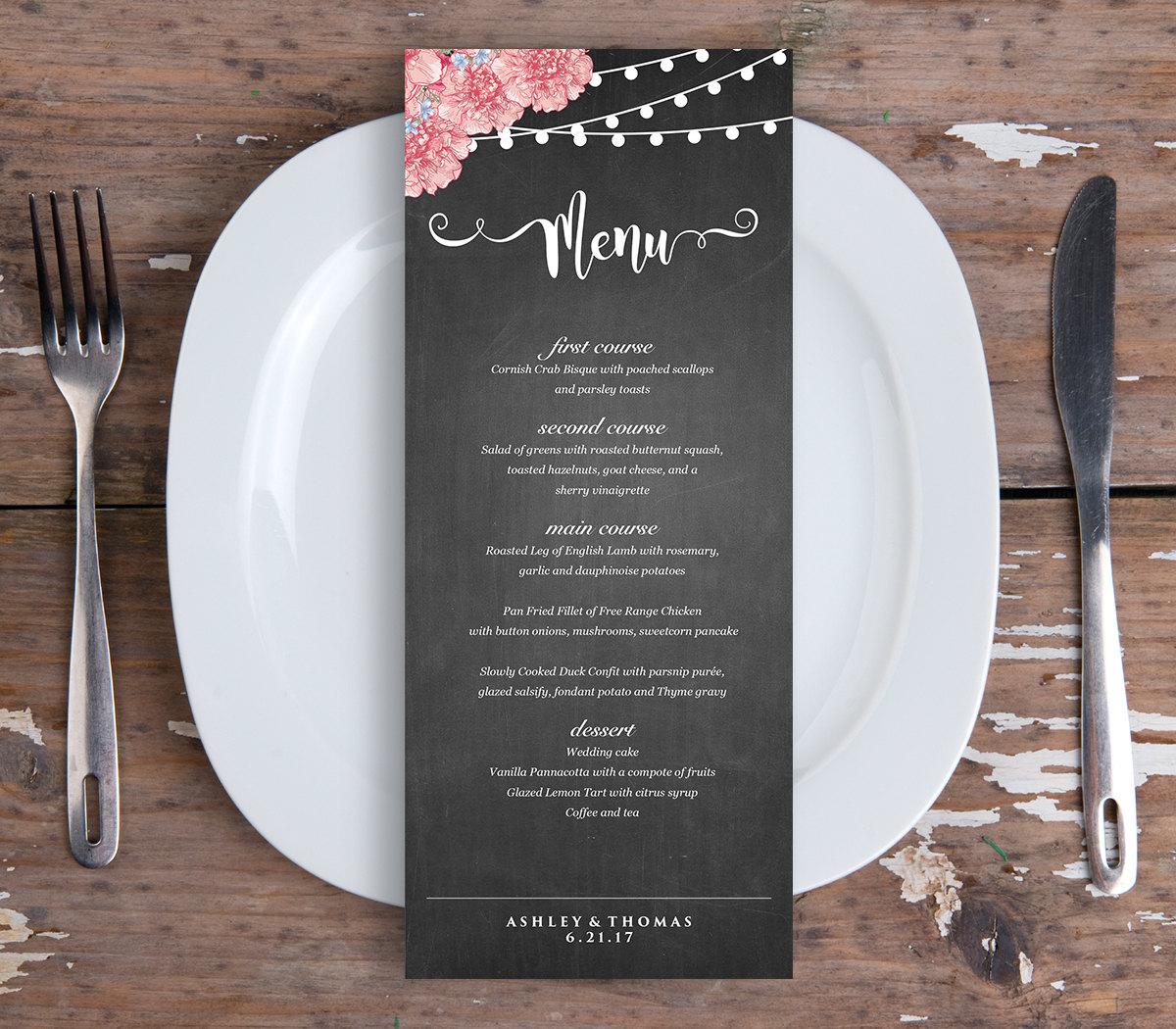 Wedding Dinner Menu Template Instant Download PDF File Digital