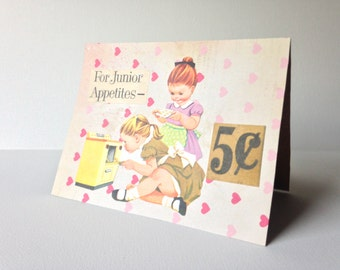 greeting card, handmade card, paper greeting card, baker, hearts, collage, mixed media, any occasion card
