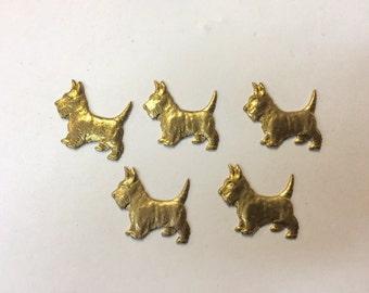 Brass Stamping - Scottish Terrier - Set of 5
