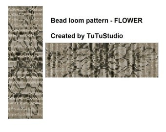 Bead loom pattern - FLOWER haki colour