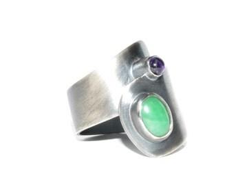 Ring in silver and semi-precious stones