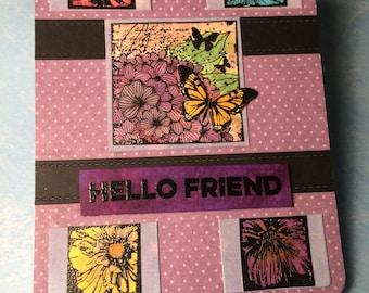 Purple Hello Friend card