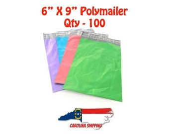 Colorful Polymailer, 100 Polymailers, Poly Mailer, Mailer, 6 X 9 Polymailer, Self seal strip, Colors, Polymailer