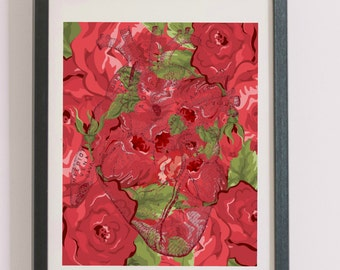 Vintage Heart Anatomy Floral Printable