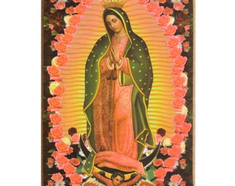 Virgin of Guadalupe wall hanging print on MDF board