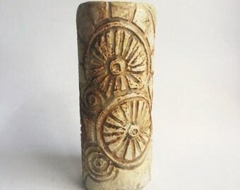 studio pottery etched design vase