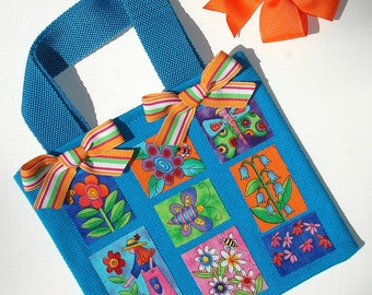 Girls Turquoise Canvas Tote Bag Garden Themed Appliques Striped Grosgrain Bows Orange Alligator Clip Hair Bow