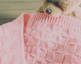 Handmade Knitted Baby Blanket - Peach