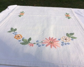 Vintage embroidered place mat /tea tray, Sale 30 percent off perfect for serving tea in style