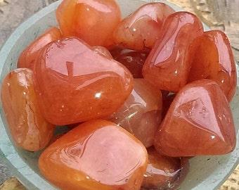 Gorgeous Gemmy Carnelian tumbled stone x 4