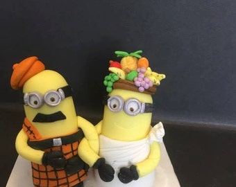 Bride and groom minions edible cake toppers