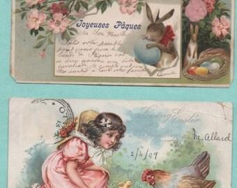 7 cards postcards old children/dog/Easter/Easter/old postcard/children