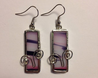 Pink, black and white stained glass earrings