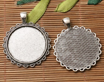 2pcs dark silver color floral rim round shaped cabochon setting in 35mm EF3139