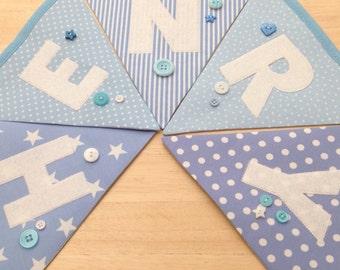 Personalised boys baby blue bunting nursery banner
