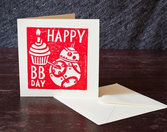 Star Wars BB8 Hand printed Lino Cut Birthday Card