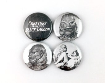 """The Creature from the Black Lagoon (1954) - 1"""" Button Pin Set"""