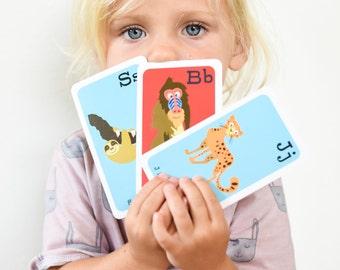 Alphabet Flashcards, Animal Alphabet Flashcards, ABC Flashcards, Letter Flashcards, abc Cards, Flashcards for Toddlers, Animal Alphabet