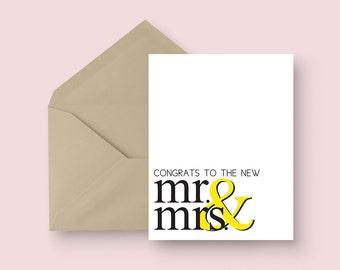 Modern Wedding Card - Congrats to the New Mr. & Mrs. - Minimal Wedding Card - Engagement Card - Classic Wedding Card
