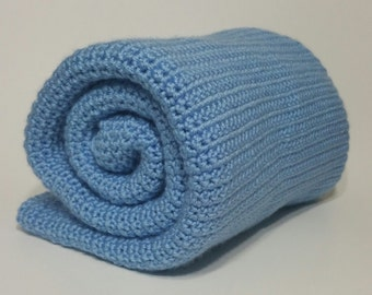 Blue Baby Blanket / Receiving Baby Blanket / Stroller Blanket / Pram Blanket / Crib Blanket