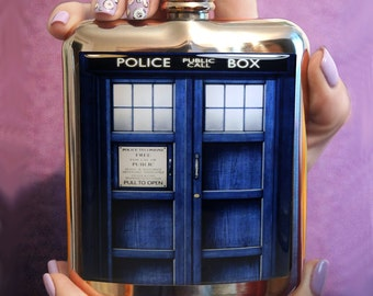 Dr. WHO TARDIS FLASK Doctor Who flask Hip Flask Personalized Flask Funny flask Birthday Gift Birthday gift ideas