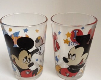 Two Collectable Vintage Mickey Mouse Drinking Glasses