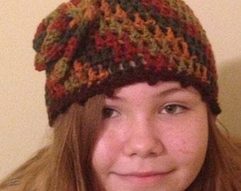 Dark Fall Crocheted Beanie with Flower