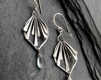 Sterling Silver Moss Aquamarine Flower Earrings