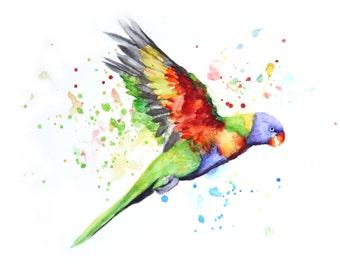 Parrot painting, Original watercolor, Boba painting, Watercolor art