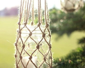 Jute string mason jar lanterns
