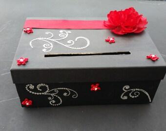 Black & Red wedding card box