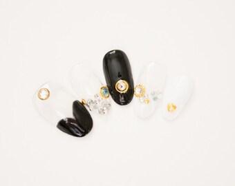 Heart French nails, rock nails, punk nails, gothic nail,lolita nails, dark, press on nails, acrylic nail, Harajuku nail