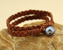 Genuine leather cord woven bracelet for women,pearl and leather cord bracelet,double strand bracelet,brown leather braided bracelet,S362